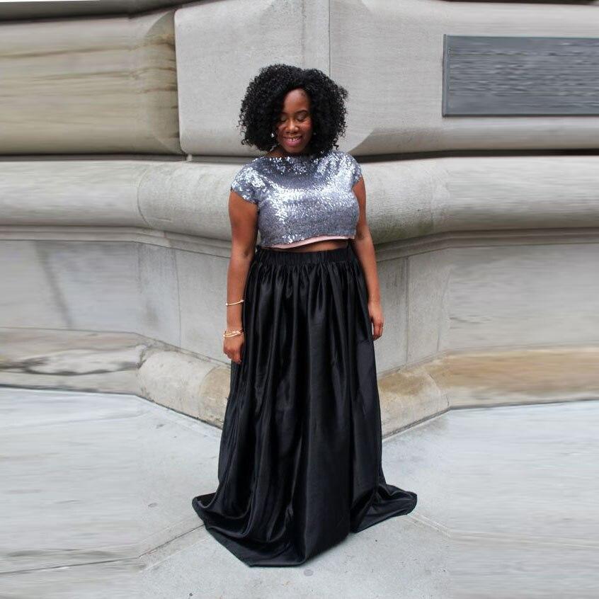 62c17cce1f3 Plus Size Black Full Skirt Elastic Waistline A Line Floor Length Long Maxi  Skirt Custom Made Modest Women Skirt