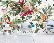 Купить с кэшбэком Beibehang Wallpaper mural children's room hand-painted rainforest plant cactus TV background wall home decoration 3d wallpaper