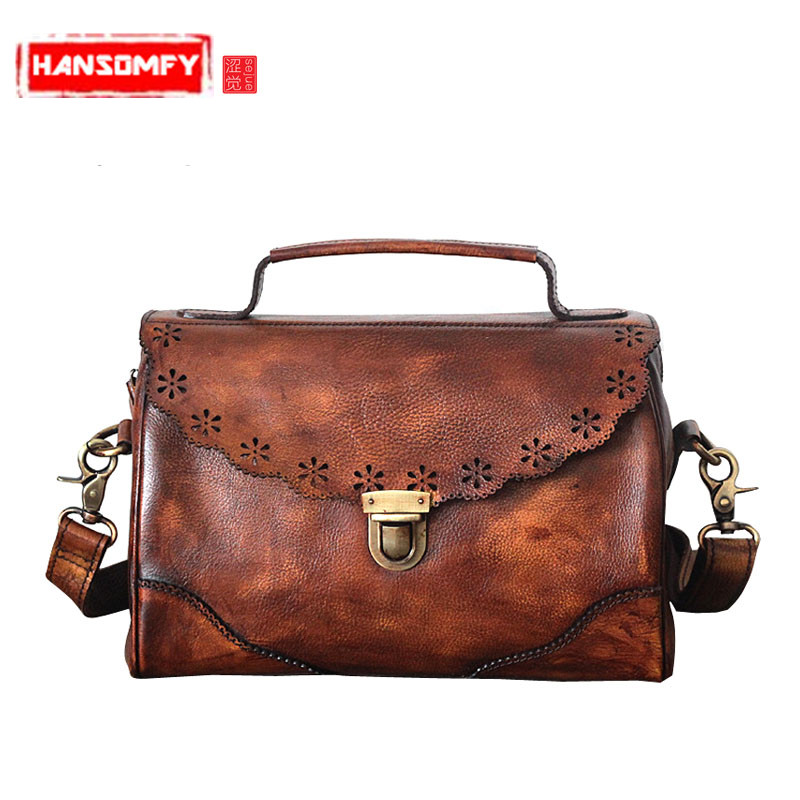 The new fashion Women handbags Genuine leather retro tanning leather hand-wiping color shoulder diagonal messenger BagsThe new fashion Women handbags Genuine leather retro tanning leather hand-wiping color shoulder diagonal messenger Bags