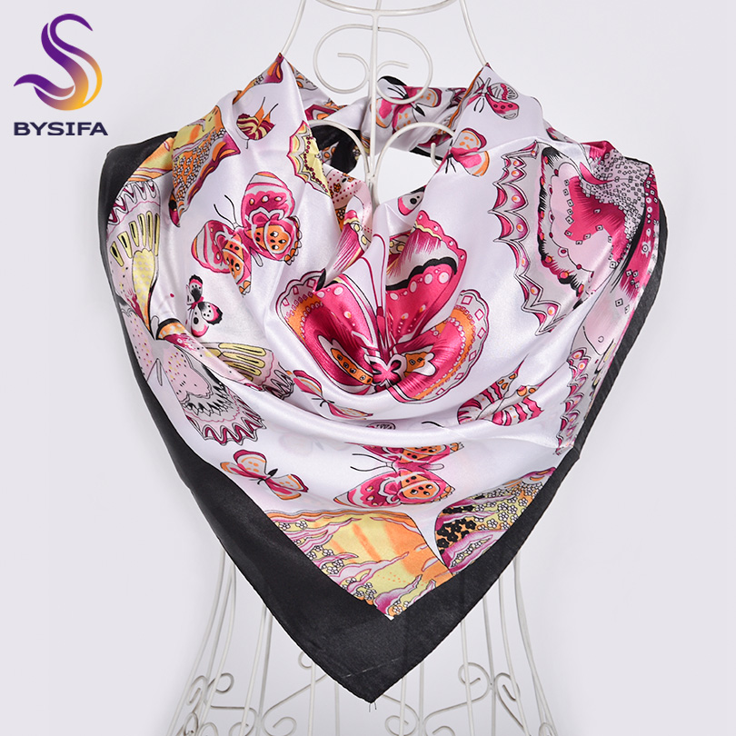 [BYSIFA] Ladies Black Pink Silk Scarf Shawl 2019 New Butterfly Design Hijabs Scarves Fall Winter Warm Neck Scarves Headscarves