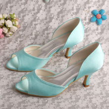Wedopus MW343 Open Toe Mint Green Heels Shoes Wedding Women Dropshipping