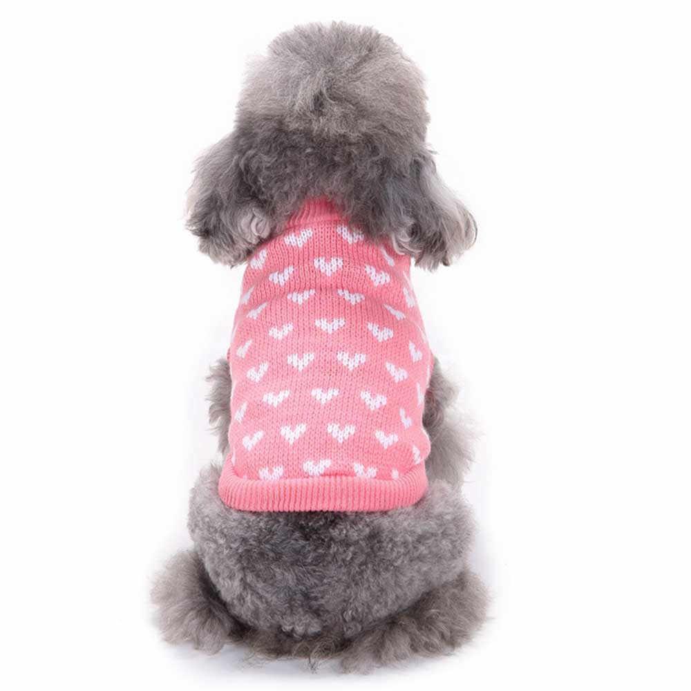 핑크 하트 개 스웨터 라운드 넥 작은 애완견 귀여운 옷 강아지 스웨터 럭셔리 디자이너 개 옷 roupa soft cachorro