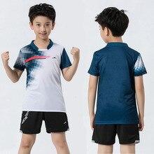 Новинка года, комплект для бадминтона для мальчиков быстросохнущая детская одежда для тенниса Детская рубашка для бадминтона футболка для настольного тенниса одежда для пинг-понга синего цвета