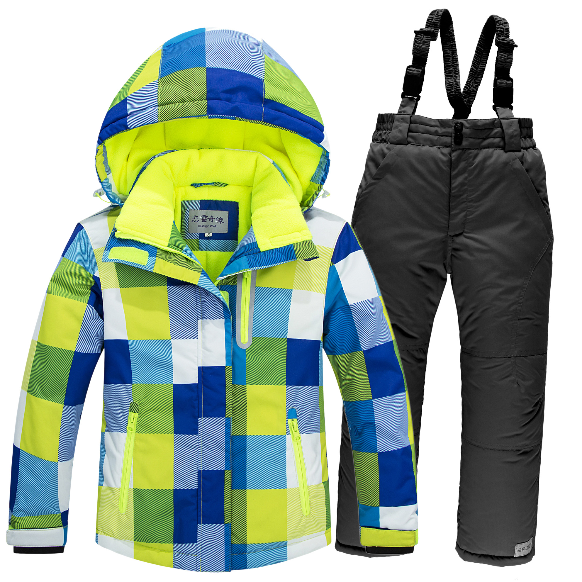 2017 Winter Children's Ski Suits Thicker Waterproof Boys And Girls Cold Outdoor Clothing Windproof Two Pieces Sets of Snow Wear цена