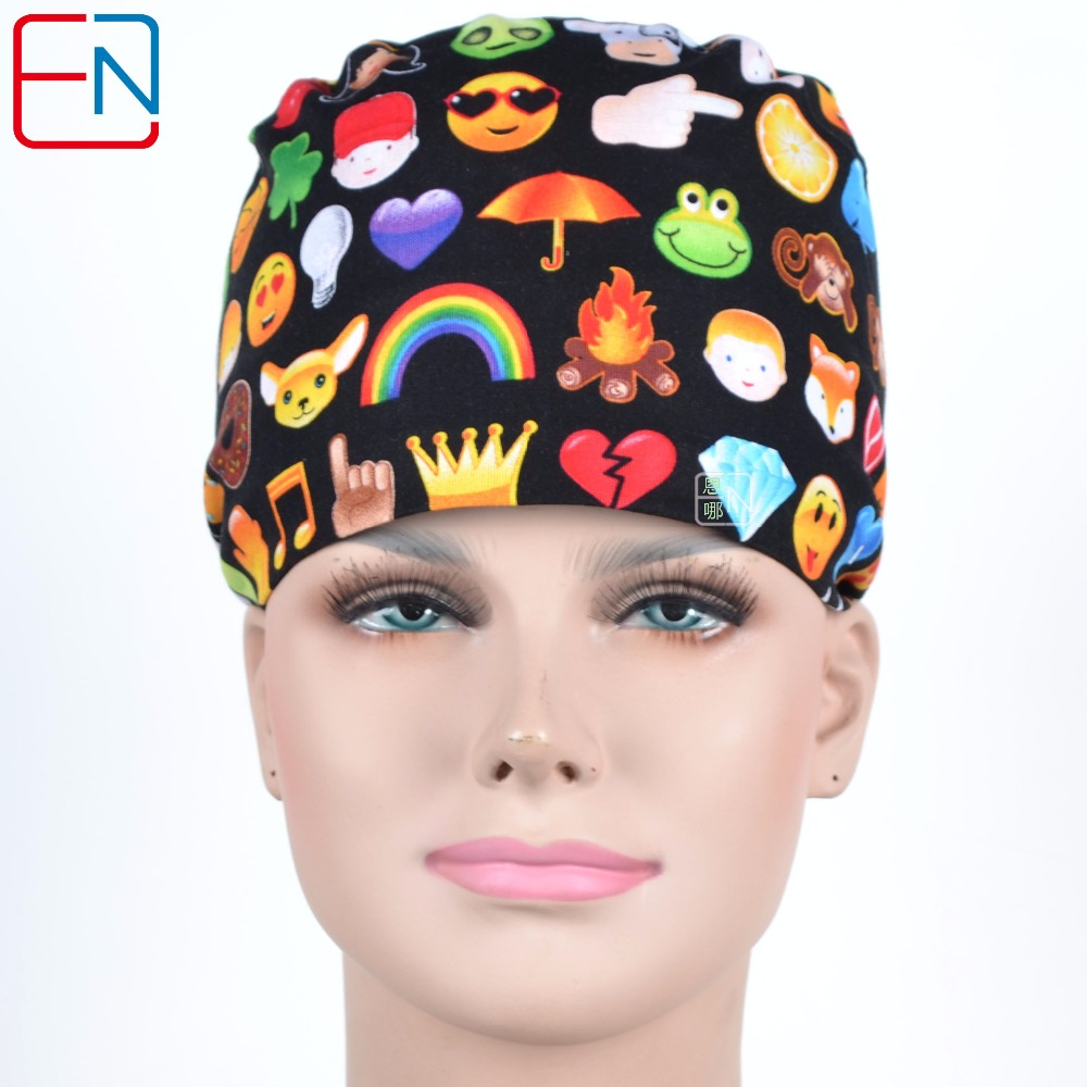 Hennar Surgical Caps Women Men Hospital Clinical Medical Hats Printed Doctors Nurses Unisex Surgery Hats Medical Accessories