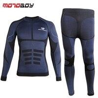 Free shipping 1set Men's Fleece Lined Thermal Underwear Set Motorcycle Skiing Base Layer Winter Warm Long Johns Shirts