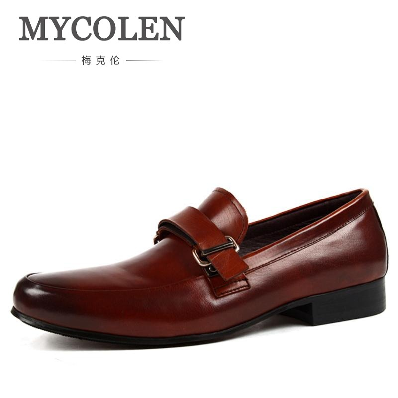 MYCOLEN Men Shoes Pointed Toe Genuine Leather Shoes Men Wedding Dress Shoes Italian Formal Oxford Breathable Shoes For Men
