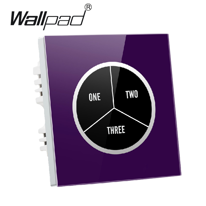 Luxury 3 gangs 2 way Purple Glass Screen Touch Light Wall Switch Free customize button 110V~250V touch wall switch,Free Shipping top luxury crystal glass 3 gangs 1 way purple touch light wall switch waterproof led touch switch fee oem free shipping