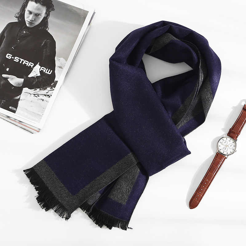 Men Winter Scarf Warm Soft Bufandas Cachecol Cotton Scarves Formal Business Male Plaid Wool Scarf Gentleman Gife For Men