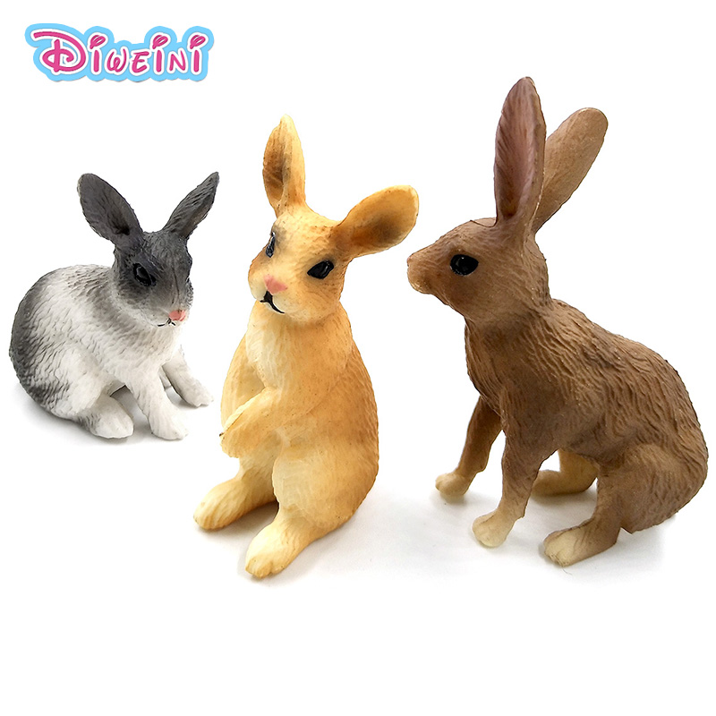 Simulation Rabbit animal models toys figurine small hare forest wild animals plastic Decoration educational toy Gift For Kids figurine