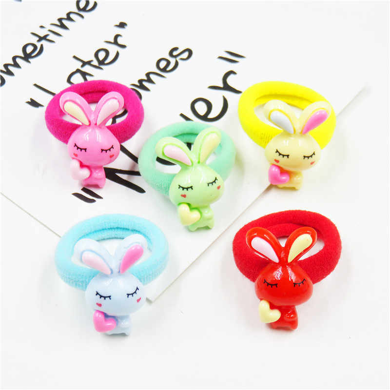 1PCS Rabbit LOVE Solid Bow Elastic Hair Bands Toys For Girls Handmade Child Rope Headband Scrunchy Hair Accessories For Kids