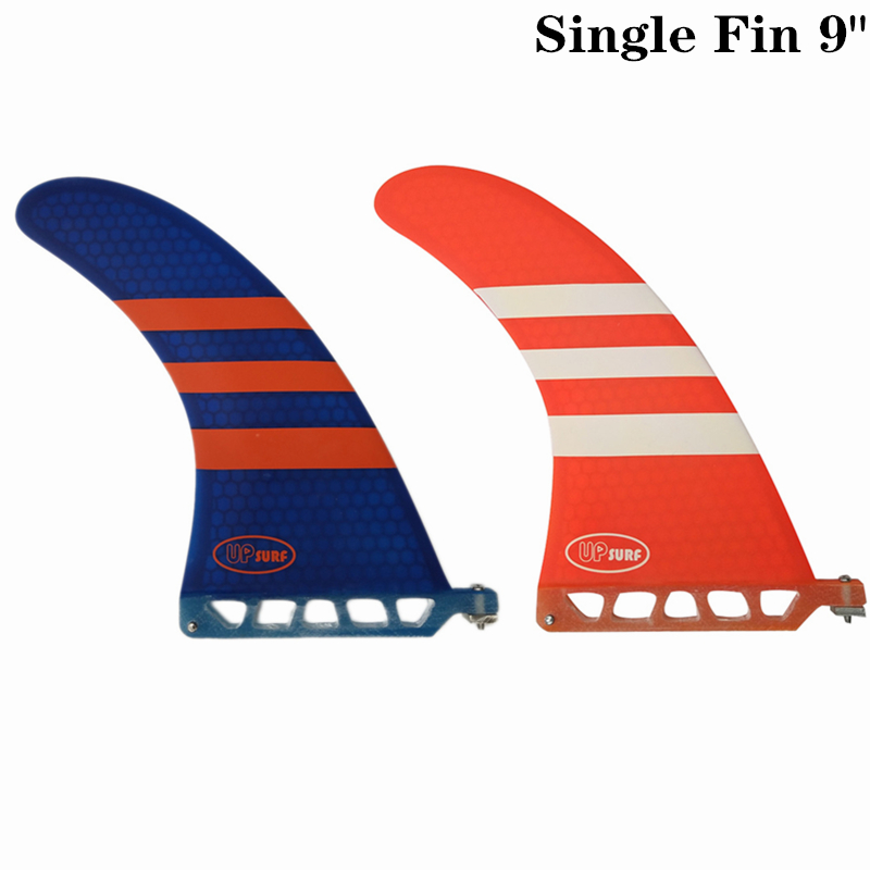 Surf Longboard Fin 9 Inch Barbatana Surf 9 Inch Fin Fibreglass Barbatana In Surfing Single Fin Stand Up Paddle Red/Blue Color