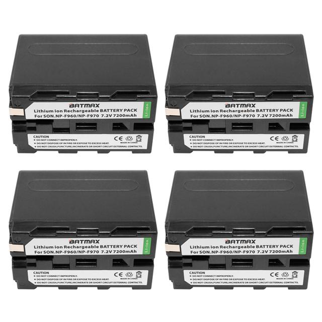 7.2 v 7200 mah np-f960 np-f970 np np f970 f960 baterías de videocámara (4 pack) para sony np-f550 f770 f750 f960 f970