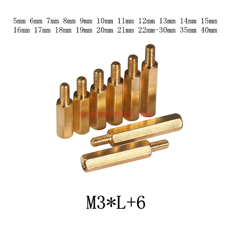 100pcs/lot <font><b>M3</b></font>*L+6 <font><b>3mm</b></font> Brass Standoff Spacer Male Female Spacing <font><b>Screws</b></font> Hex Brass Threaded Spacer length <font><b>3mm</b></font> to 30mm image