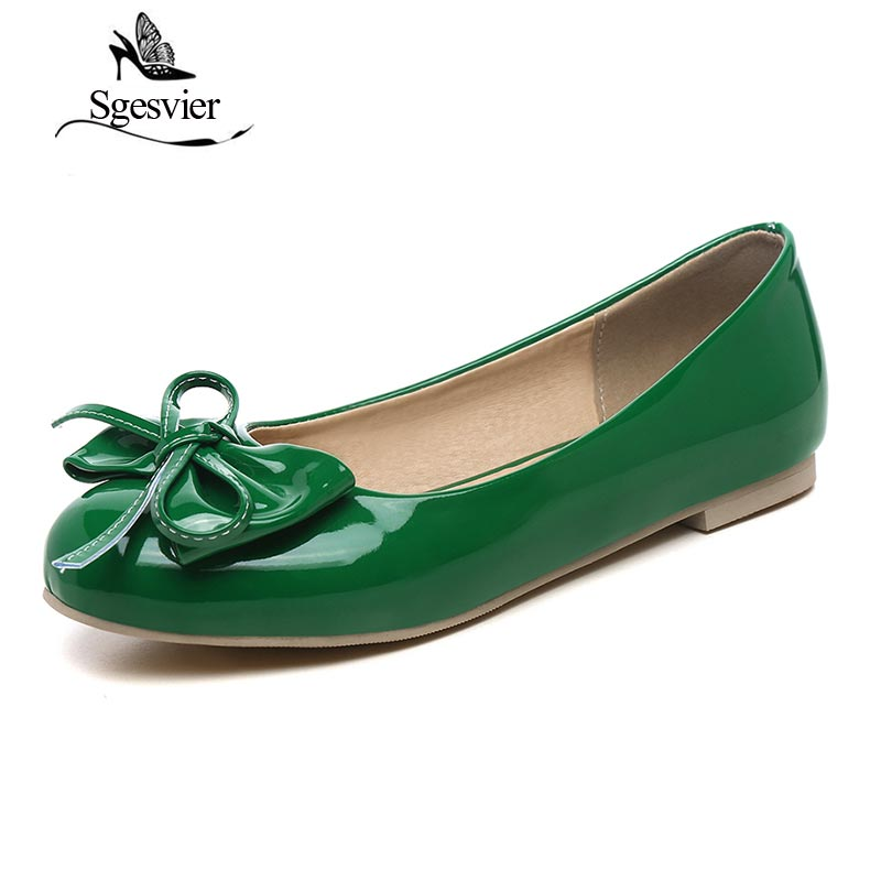 SGESVIER Candy Colors Women Patent Leather Shoes OL Loafers Casual Flats Female Sweet Butterfly-knot Boat Shoes Size dxj1979 free shipping candy color women garden shoes breathable women beach shoes hsa21