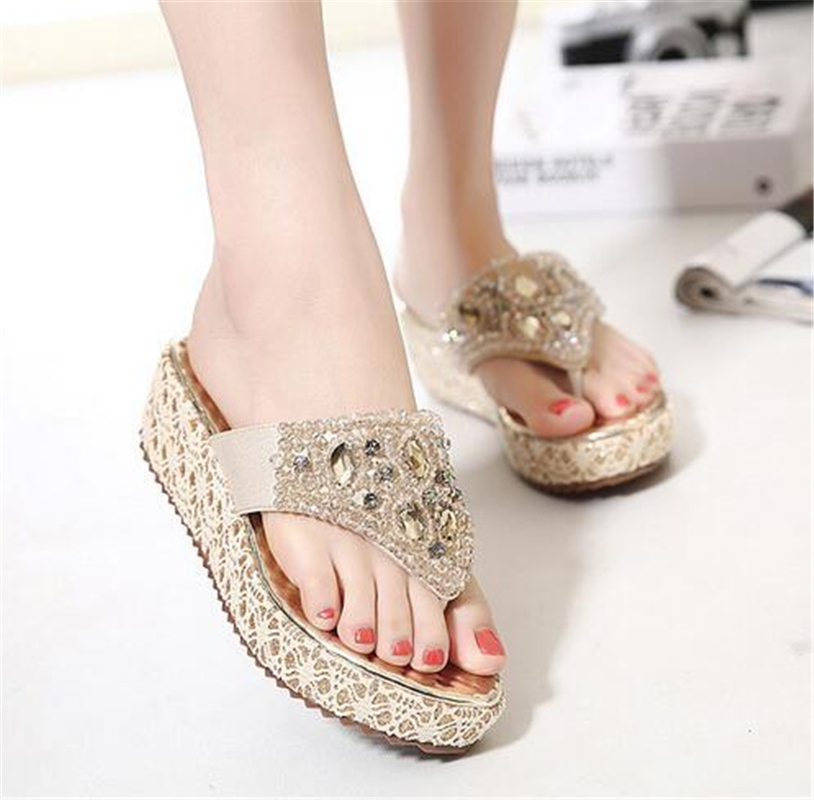 Plus size Thick Platform Slippers Flip Flops Summer Beach Shoes Woman Slides Crystal Comfort Women Sandals Casual Female Wedges phyanic 2017 gladiator sandals gold silver shoes woman summer platform wedges glitters creepers casual women shoes phy3323