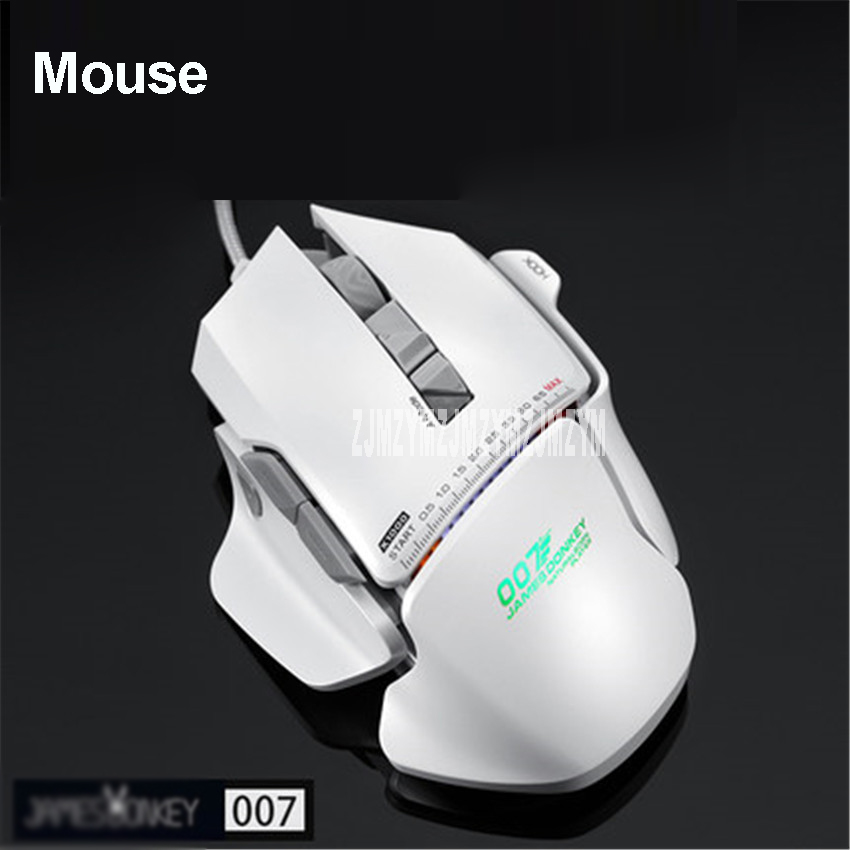 007 USB Wired Optical Laser Gaming Mouse 8200DPI Adjustable 8 Buttons with RGB Backlight For PC Mac LOL CS Gamers White / Green dare u wcg armor soldier 6400dpi 7 programmable buttons metab usb wired mechanical gaming mouse