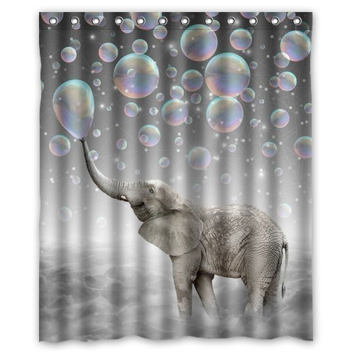 Custom Cute animal Elephant Shower Curtain Waterproof Polyester Fabric Shower Curtain