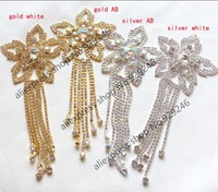 Free Shipping 1pc Lot Fashion Cute Five Star Ab Crystal Applique With Long Stone Tassel Sewing