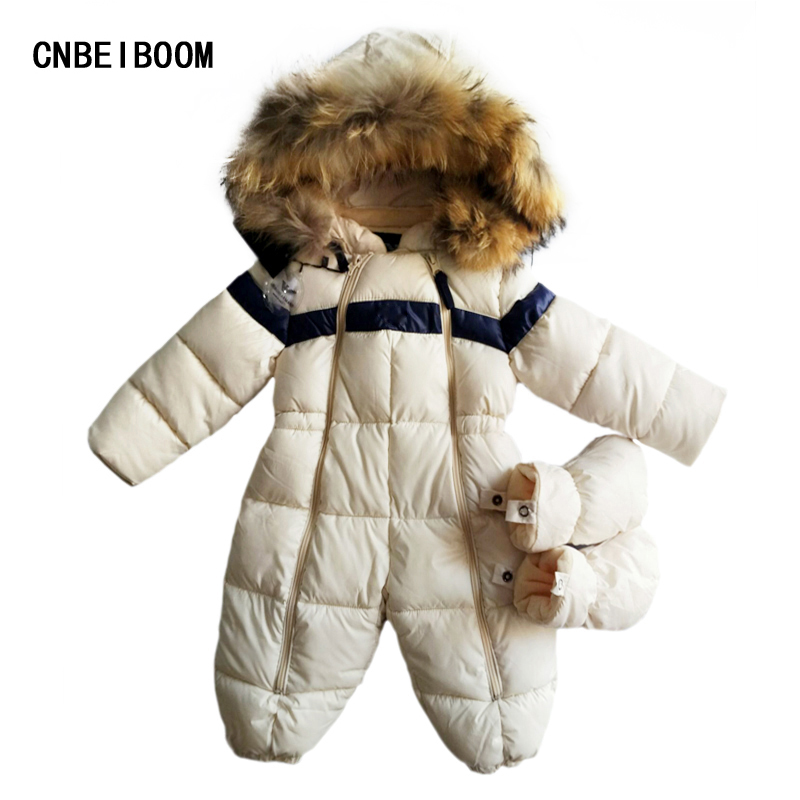 Russia Baby Girls & boys Winter Romper Snowsuit Infant Overalls Thick Warm Jumpsuit Brand Down Jacket Children 0-3 years Clothes