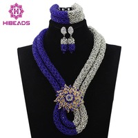 Women 2017 Crystal Blue Necklace Sets Fashion Vintage Ethnic Jewelry Nigerian Silver Bead Necklace Free Shipping WD352