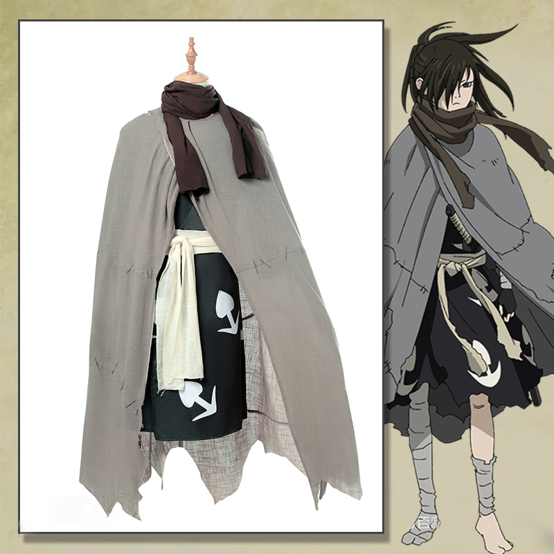 Full Set Anime Dororo Cosplay Hyakkimaru Costume Gray Cloak Robe for Adult Men Kimono Cosplay Halloween Party Costumes XXS-3XL