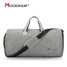 Modoker الملابس حقيبة السفر مع حزام الكتف حقيبة من القماش الخشن تحمل على حقيبة معلقة حقائب عمل الملابس جيوب متعددة رمادي