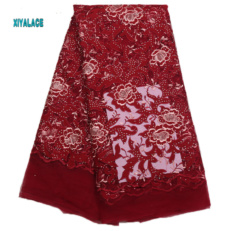 African Lace Fabric High Quality Lace Nigerian Voile Lace Fabric New Design Swiss Voile Lace Switzerland Add Stones YA1773B-1