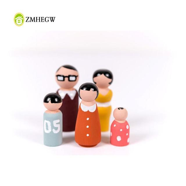 1 Sets 5Pcs Wooden Peg Dolls Family DIY Crafts Cake Topper Kid's Printed Decoration Cute Children DIY Wooden Dolls Custom Gifts
