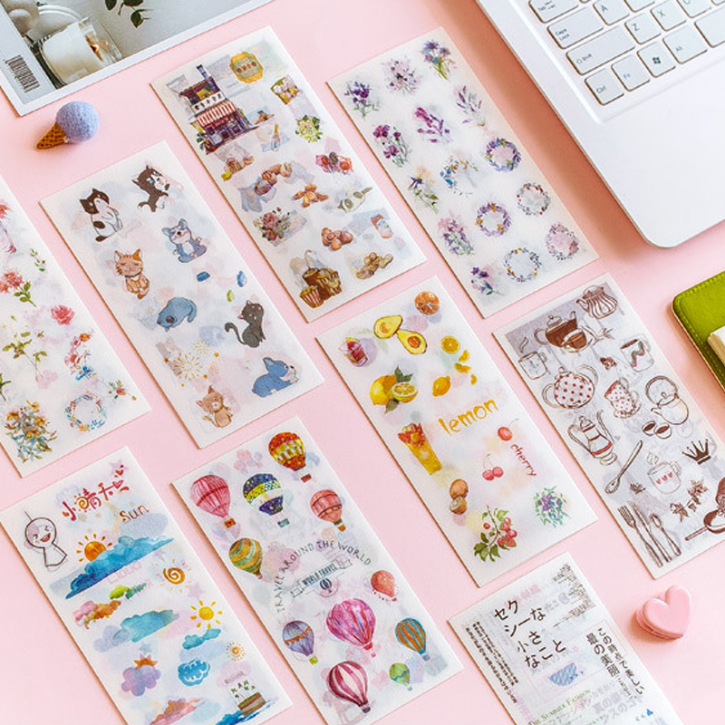 6 pcs/Lot Cartoon Watercolor Sweet Paper Sticker Decoration Stickers Diary Scrapbooking Planner Labe