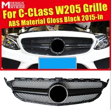 W205 Grille Mesh  ABS Material Gloss Black Grills Fit For Sport C180 C200 C250 C300 Front Bumper Grill Without Emblem 2015+