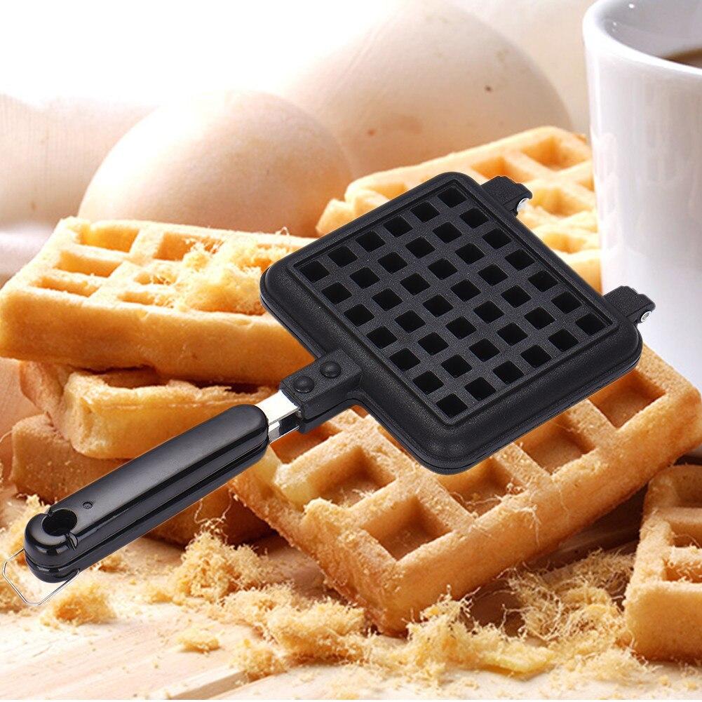1 pcs Non-stick <font><b>Waffle</b></font> Mold Aluminum+Teflon <font><b>Waffle</b></font> Maker coating Stove <font><b>Waffle</b></font> DIY Muffins Mould Bakeware Machine Kitchen Tool