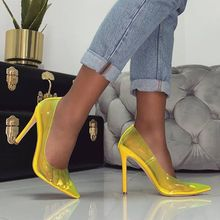 DiJiGirls Shoes Woman Casual 2020 Neon Yellow Red Sandals PVC Nude Thin Heels Pointed Toe Clear Pvc Pumps Fashion Jeelly shoes