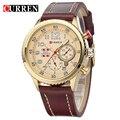 CURREN2017 New Genuine Leather Strap Ouro Relógio Negócio Relógio de Quartzo Relógio Do Esporte Dos Homens Relógio Marca de Luxo relogio masculino 8179