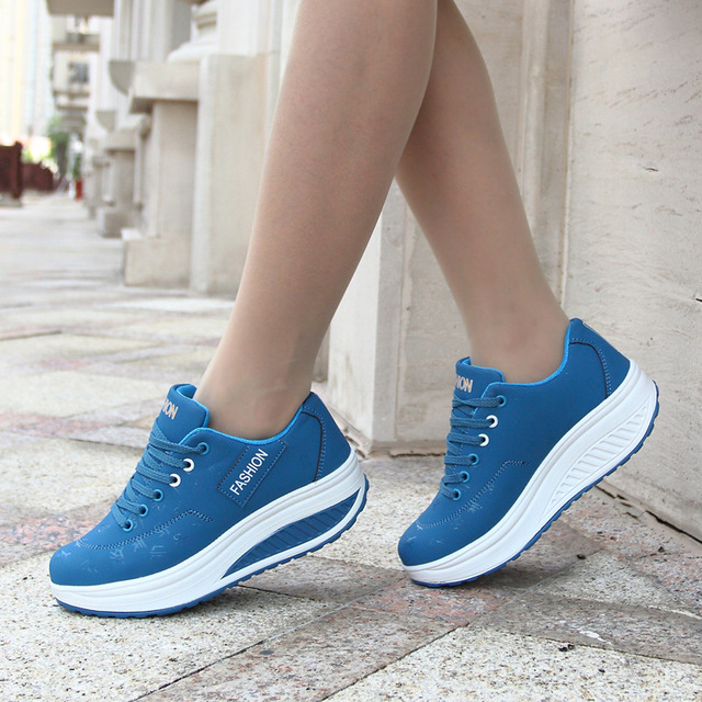 Women running shoes wedge Platform sneakers women shoes 2018 breathable  Thick Bottom running wedges sport shoes 2c3d59fb21
