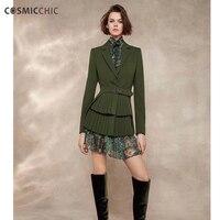 Cosmicchic взлетно посадочной полосы Для женщин Длинные костюмы с длинным рукавом Ruched пиджаки с поясом жакеты Модельер Высокое качество