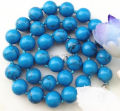 Free shipping wholesale Beautiful Charming Tempting 10mm Blue Turkey turquoise necklace 18'' sp0216