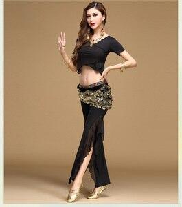 Image 4 - Qualità danza del ventre costume set di danza del ventre practice abbigliamento indiano set di garza set pantaloni set di blocchi di colore 8 colori Top & pantaloni e Cintura