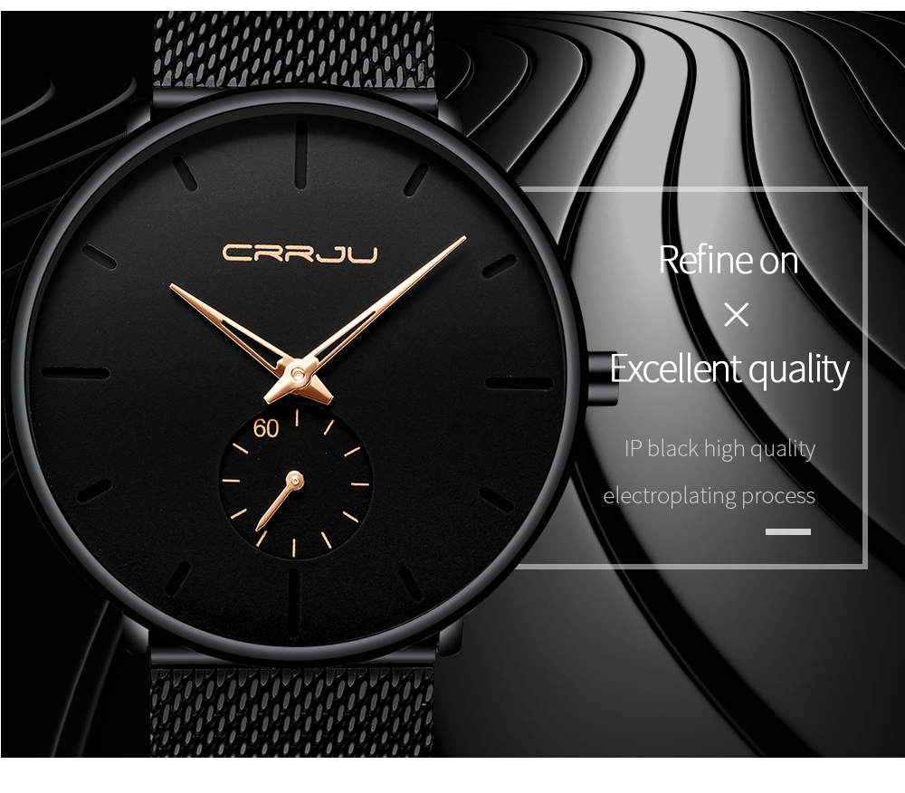 Crrju Fashion Mens Watches Top Brand Luxury Quartz Watch Men Casual Slim Mesh Steel Waterproof Sport Watch Relogio Masculino 13