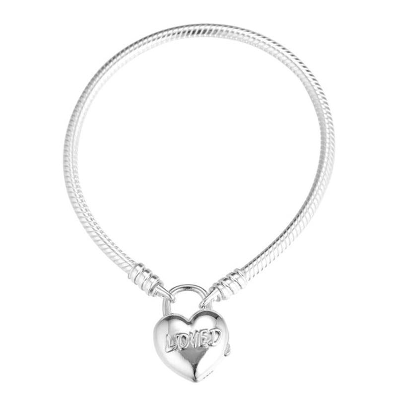 Mode Original argent 925 vous êtes aimé coeur cadenas Bracelets Alphabet Clip serrure serpent chaîne Bracelet femmes bijoux à bricoler soi-même