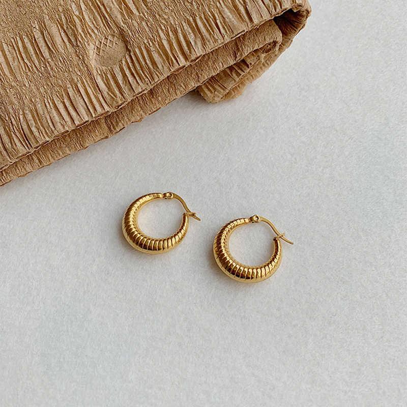 Peri'sBox Gold Chic ขนาดเล็ก Hoop ต่างหูรูปดวงจันทร์หนา Hoops ต่างหูผู้หญิง Statement ต่างหูเครื่องประดับขายส่ง