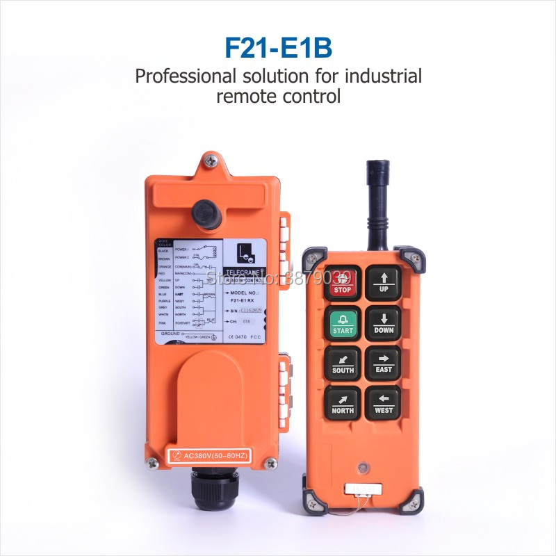 TELECRANE Industrial Wireless Radio Single Speed 8 Buttons F21-E1B Remote Control (1 Transmitter+1 Receiver) for Crane telecrane industrial wireless radio single speed 8 buttons f21 e1b remote control 1 transmitter 1 receiver for crane