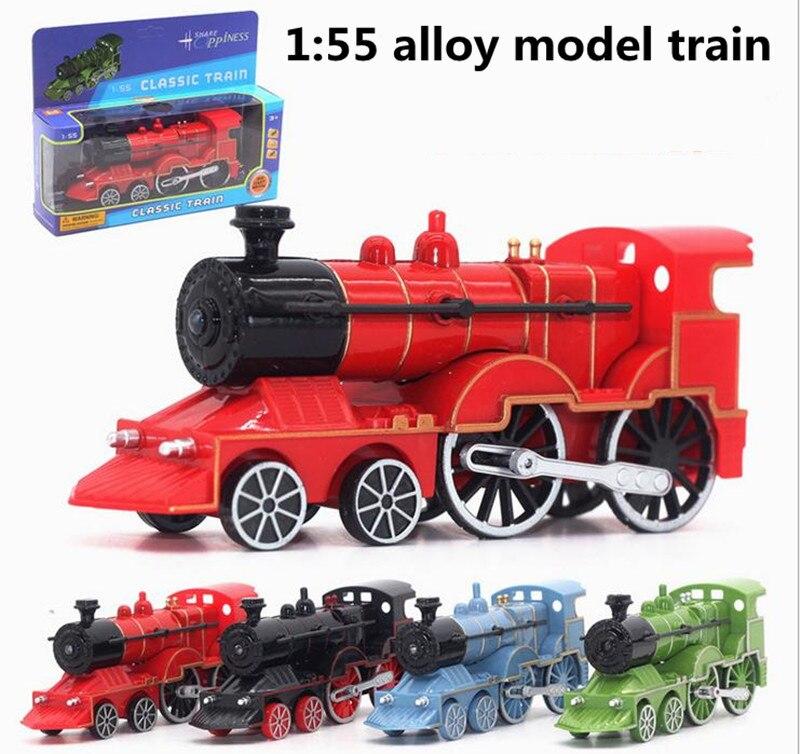 1:55 locomotive en alliage, modèle classique de train à vapeur, avec des caractéristiques sonores et lumineuses, jouets éducatifs pour enfants, livraison gratuite