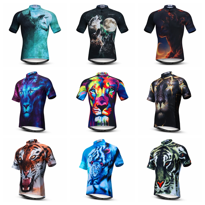2019 New 3D Wolf Tiger Lion Men's Cycling Jersey Shirts Short Sleeve Funny Bicycle MTB Bike Tops Clothing Maillot Ropa Ciclismo