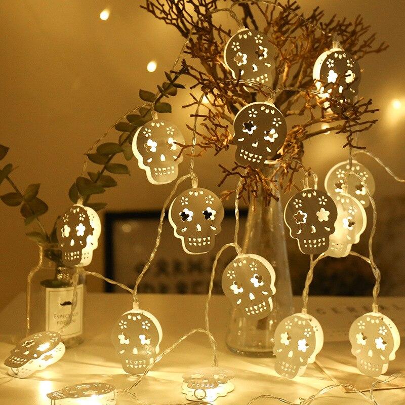 3 m Battery Operated di Halloween Bianco della Cavità del Metallo Del Cranio LED Luci Della Stringa di festa di Halloween Festa Di Natale Della Decorazione del Giardino Luci
