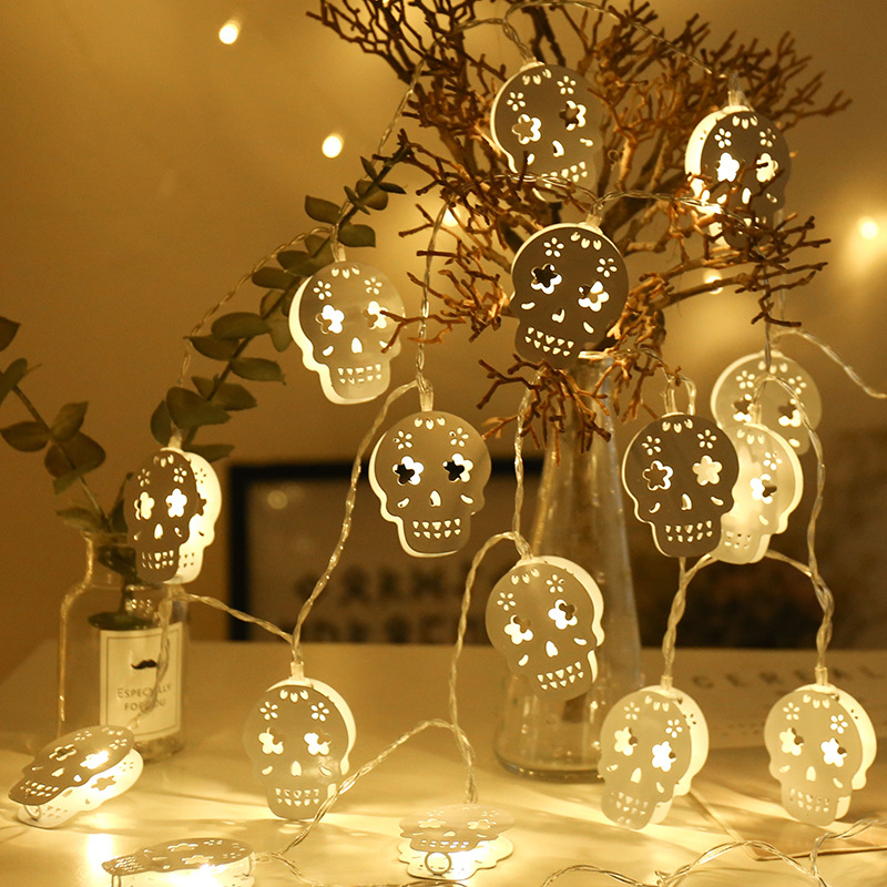 3M Battery Operated Halloween White Hollow Metal Skull LED String Lights Halloween holiday Christmas Party Garden Decor LightS kurt adler battery operated red led skull projector with sound
