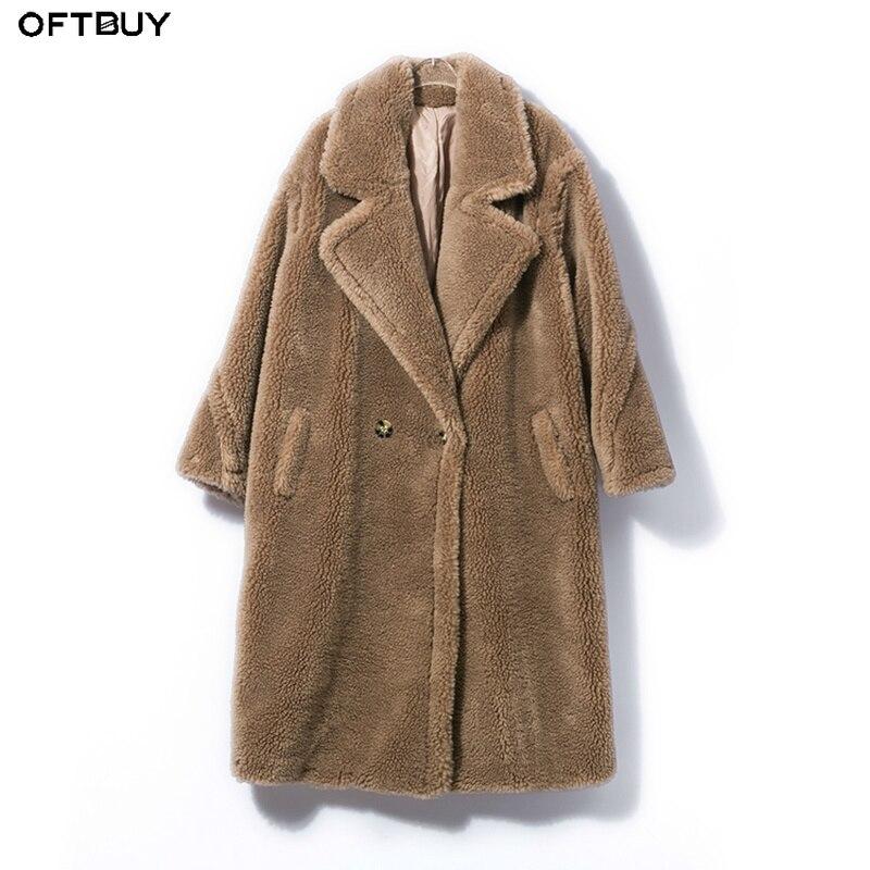 OFTBUY 2019 Real Fur Coat Long Parka Winter Jacket Women Natural Wool Sheep Shearing Fur Streetwear Oversize Thick Warm Brand
