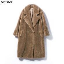 Oftbuy 2020 リアルファーコートロングパーカー冬のジャケットの女性天然ウール羊せん断毛皮ストリート特大厚く暖かいブランド