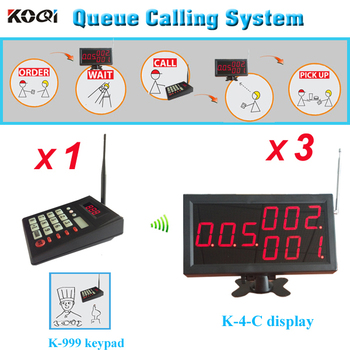 Kitchen call customer system to pick up the food 1pc keypad with 3pcs 3-digit screen show 999 persons number