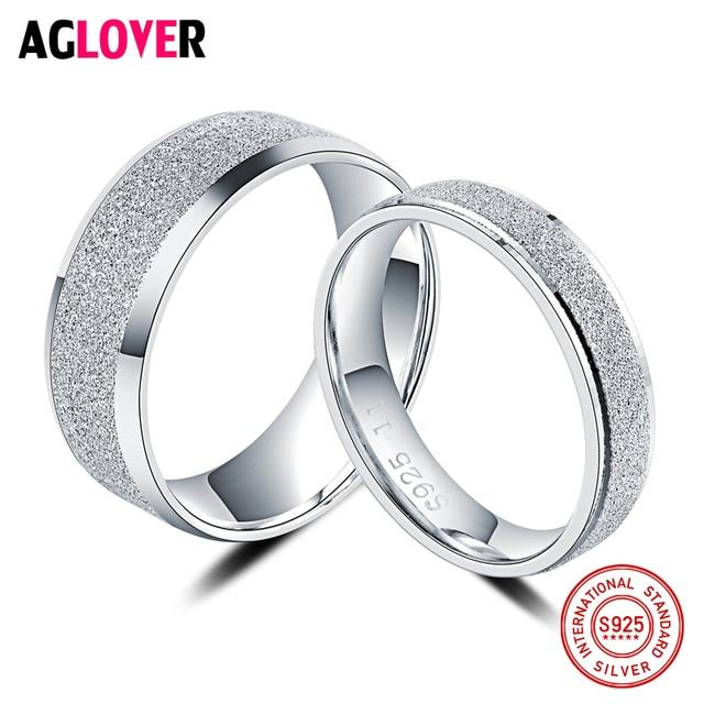 925 Sterling Silver Rings Woman Fashion Simple Couple Matte Rings Charming Femal